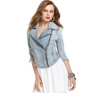 HP Guess 3/4 denim Embroidered Motorcycle Jacket